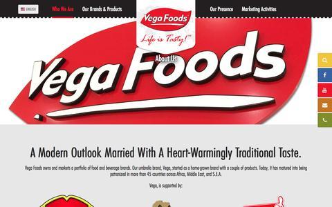 Screenshot of About Page vegafoods.com - About Us                  ::                   Vega Foods Corporation Singapore - captured Dec. 9, 2016