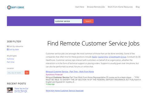 Screenshot of Support Page skipthedrive.com - Remote Customer Service Jobs | SkipTheDrive - captured July 1, 2017