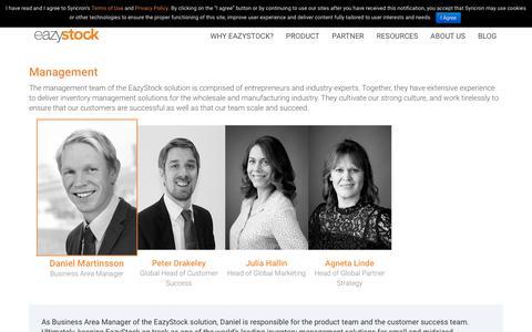 Screenshot of Team Page eazystock.com - EazyStock Management Team - captured July 16, 2018
