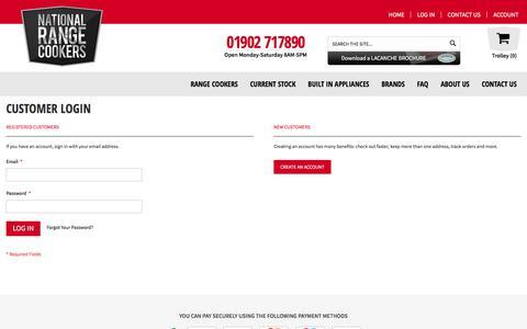Screenshot of Login Page nationalrangecookers.co.uk - Customer Login - captured July 11, 2018