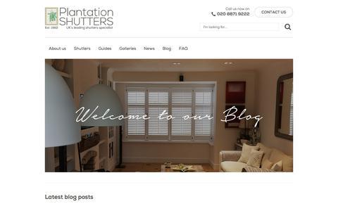 Screenshot of Blog plantation-shutters.co.uk - Latest blog posts   Plantation Shutters - captured Aug. 9, 2017