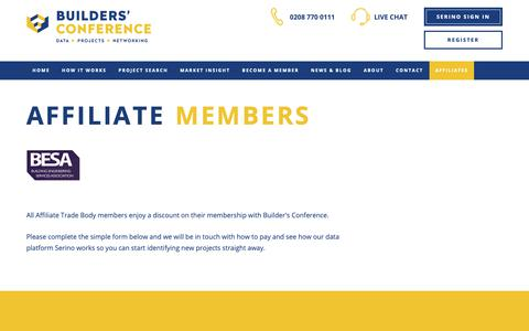 Screenshot of Signup Page buildersconference.co.uk - The Builders' Conference - Construction tender leads, Construction tender opportunities, Builders profile, Construction analysis, Market intelligence, Sales leads UK, Building projects, Building data, Building contracts awarded, Researchers - captured Nov. 15, 2018