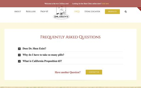 Screenshot of FAQ Page drshen.com - Frequently Asked Questions – Dr. Shen's Chinese Herbs - captured Sept. 23, 2018
