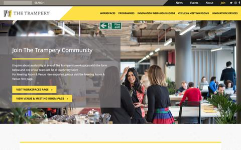 Screenshot of Signup Page thetrampery.com - Join - The Trampery - captured Nov. 17, 2017