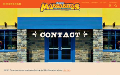 Screenshot of Contact Page margs.com - Contact | Margaritas Mexican Restaurant - captured Feb. 12, 2016