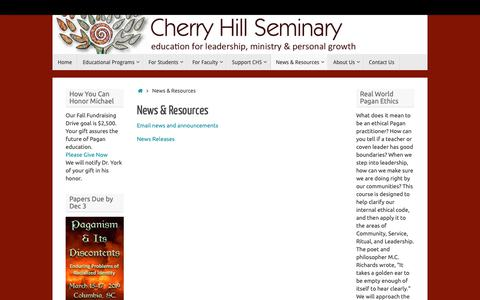 Screenshot of Blog cherryhillseminary.org - News & Resources - captured Nov. 4, 2018
