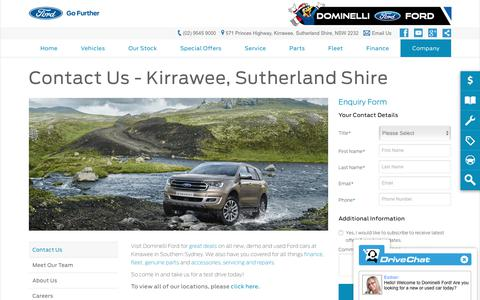 Screenshot of Hours Page dominelliford.com.au - Contact Us   Kirrawee, Sutherland Shire, NSW - Dominelli Ford - captured Oct. 31, 2018