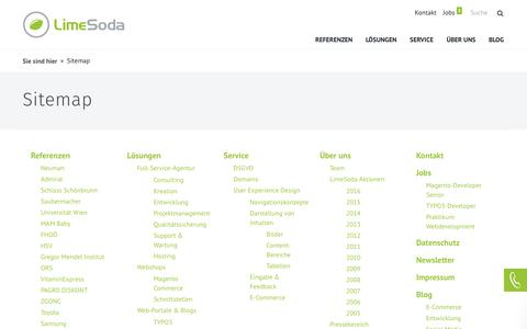Screenshot of Site Map Page limesoda.com - Sitemap - captured Sept. 24, 2018