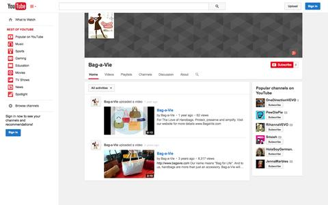 Screenshot of YouTube Page youtube.com - Bag-a-Vie  - YouTube - captured Oct. 23, 2014
