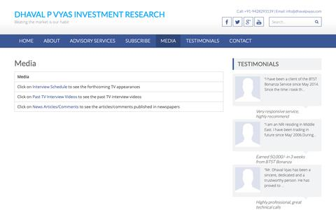 Screenshot of Press Page dhavalpvyas.com - Media » Dhaval P Vyas Investment Research - captured Nov. 14, 2018