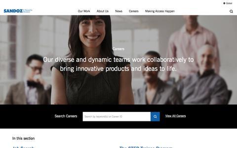 Screenshot of Jobs Page sandoz.com - Careers | Sandoz - captured May 27, 2017