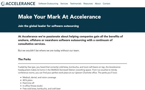 Screenshot of Jobs Page accelerance.com - Work at Accelerance | Accelerance - captured Feb. 18, 2019