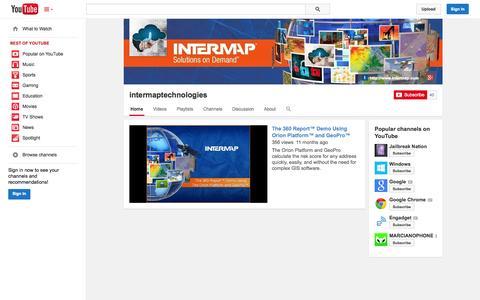 Screenshot of YouTube Page youtube.com - intermaptechnologies  - YouTube - captured Oct. 23, 2014