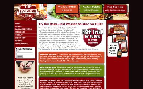 Screenshot of Pricing Page toprestaurantsites.com - Top Restaurant Sites   Affordable Prices! - captured Oct. 7, 2014