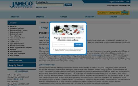 Screenshot of Terms Page jameco.com - Jameco Electronics - terms & conditions - captured Oct. 12, 2016