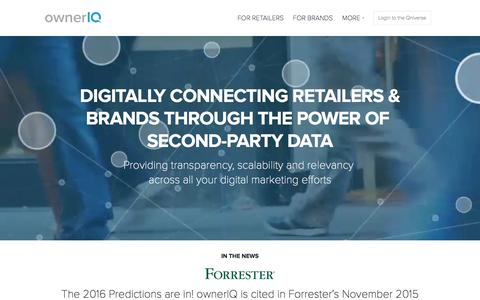 Screenshot of Home Page owneriq.com - Programmatic Advertising Solutions for Retailers and Brands through Second-Party Data Sharing | ownerIQ - captured Feb. 19, 2016