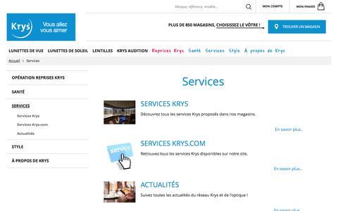 Screenshot of Services Page krys.com - Services | Opticien KRYS - captured Nov. 19, 2016