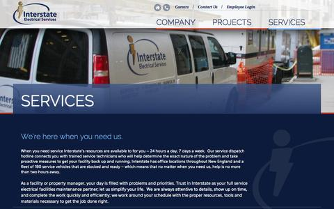 Screenshot of Services Page iesc1.com - Services | Interstate Electrical Services - captured Nov. 3, 2014