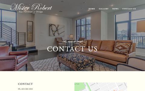 Screenshot of Contact Page misterrobert.com - Contact Us — Mister Robert Fine Furniture - captured Oct. 18, 2018