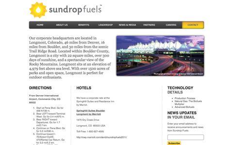 Screenshot of Maps & Directions Page sundropfuels.com - Sundrop Fuels, Inc - captured Sept. 17, 2014