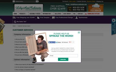 Screenshot of FAQ Page lilyanncabinets.com - Customer Services Lilyann - captured July 14, 2016
