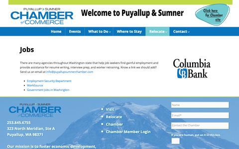 Screenshot of Jobs Page puyallupsumnerchamber.com - Jobs | Puyallup Sumner Chamber of Commerce - captured Sept. 30, 2018