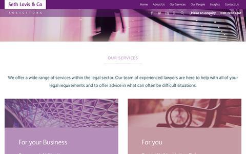 Screenshot of Services Page sethlovis.co.uk - Our Services - captured Nov. 18, 2018