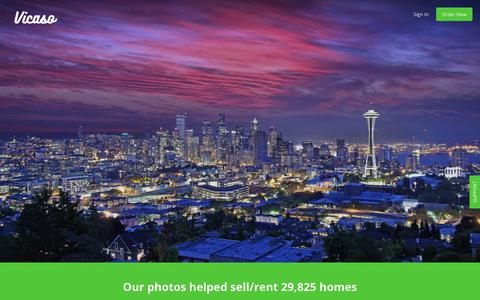 Screenshot of Home Page vicaso.com - Vicaso Real Estate Photography: We help you sell/rent faster with great photos, aerial photos, and video. - captured Sept. 22, 2018