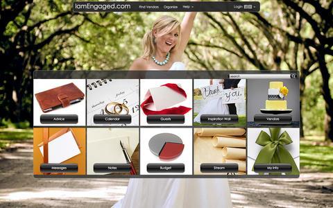 Screenshot of Home Page iamengaged.com - IamEngaged.com - Wedding Cakewalk - captured Oct. 6, 2014