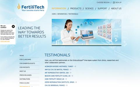 Screenshot of Testimonials Page fertilitech.com - Customer Testimonials Unisense FertiliTech - Unisense Fertilitech A/S - captured Sept. 17, 2014