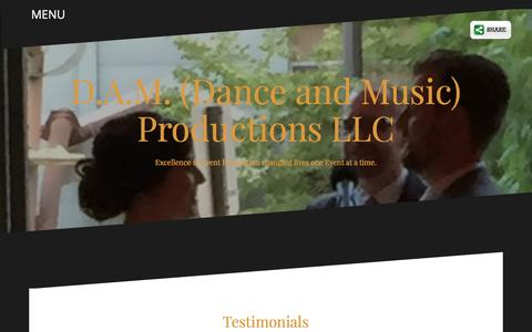 Screenshot of Testimonials Page damproductions.us - Testimonials - D.A.M. (Dance and Music) Productions LLC - captured Nov. 23, 2016