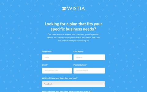 Screenshot of Pricing Page wistia.com - Get in touch about a Wistia Premium plan - captured April 10, 2017