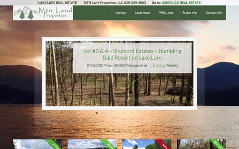 Screenshot of Home Page mtnlandproperties.com - MTN Land Properties | Lake Lure & Western North Carolina; Acreage, Homesites & Lake Lure Land for Sale - captured Aug. 12, 2015