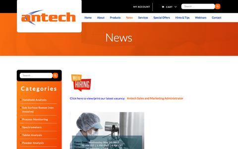 Screenshot of Press Page antech.ie - News | Antech | Chromatography Consumables and Instrumentation | Antech - captured Oct. 8, 2017