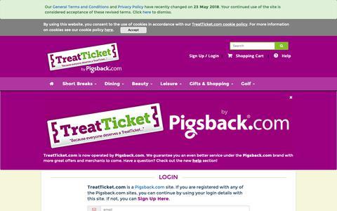 Screenshot of Login Page treatticket.com - Login - Group buying discounts in your city  | TreatTicket.com - captured Nov. 18, 2018