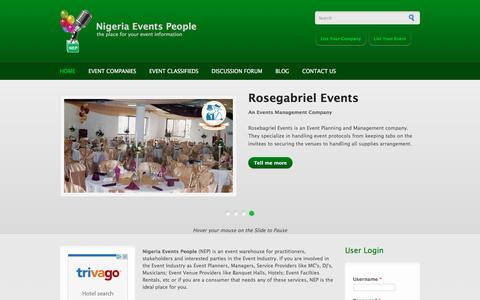 Screenshot of Home Page nigeriaeventspeople.com - Nigeria Events People | the place for your event information - captured March 3, 2016