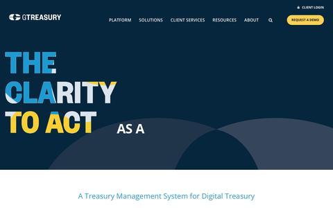 Screenshot of Home Page gtreasury.com - Integrated Treasury Management System | GTreasury - captured Jan. 25, 2020