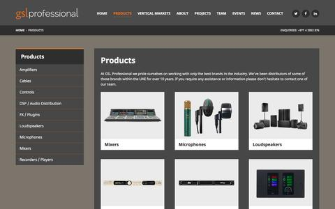 Screenshot of Products Page gslprofessional.com - Products - GSL Professional - captured Dec. 6, 2015