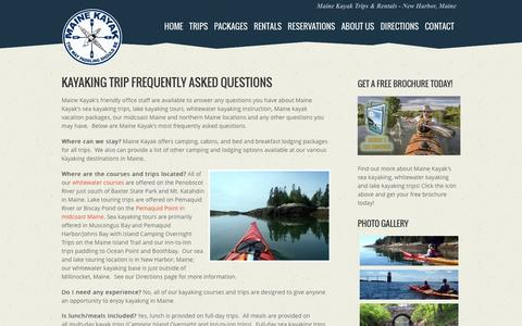 Screenshot of FAQ Page mainekayak.com - Kayaking in Maine Frequently Asked Questions | Maine Kayak - captured June 22, 2016