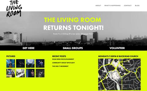 Screenshot of Home Page thelivingroomatl.com - The Living Room / Atlanta College Ministry - captured Oct. 19, 2015