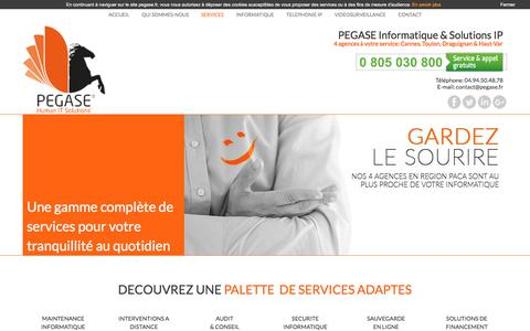 Screenshot of Services Page pegase.fr - PEGASE Informatique & Solutions IP | Accueil - captured July 7, 2017