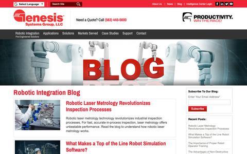 Screenshot of Blog genesis-systems.com - Robotic Integration Blog   Genesis Systems - captured Sept. 27, 2018