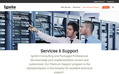 Screenshot of Services Page ignitetech.com - Ignite Technologies :: Services and Support - captured May 9, 2017