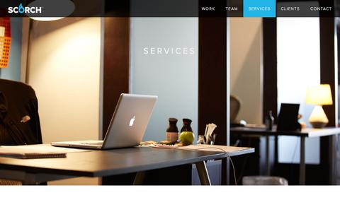 Screenshot of Services Page scorchagency.com captured March 4, 2016