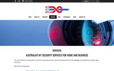Screenshot of Services Page fortknoxsecurity.com.au - Huge range of security services - commercial & residential - captured June 6, 2017