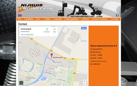 Screenshot of Contact Page nijhuisengineering.nl - NED | Contact - captured Oct. 26, 2014