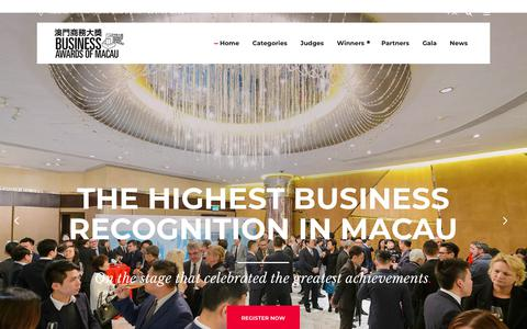 Screenshot of Home Page awardsmacau.com - Business Awards of Macau - The biggest business recognition in Macau - captured Oct. 7, 2018