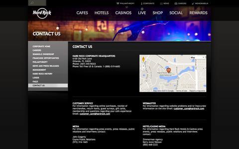 Screenshot of Contact Page hardrock.com - Hard Rock Corporate | Contact Us - captured Oct. 27, 2014