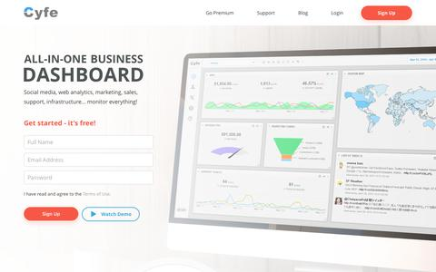 Screenshot of Home Page cyfe.com - All-In-One Business Dashboard - Cyfe - captured Oct. 14, 2017