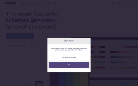 Screenshot of Home Page coolors.co - Coolors - The super fast color schemes generator! - captured Sept. 20, 2015